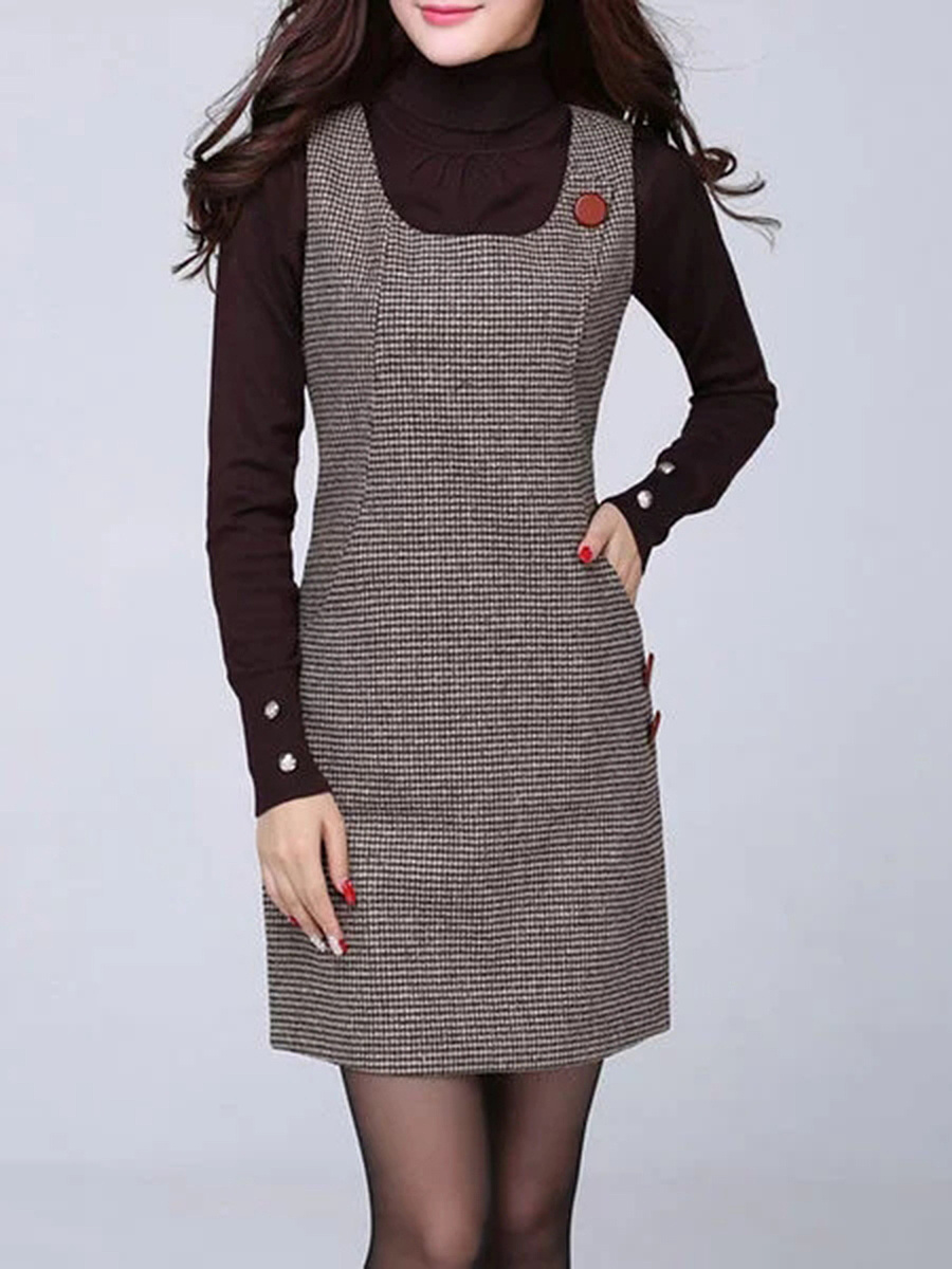 Houndstooth Round Neck Woolen Sleeveless Bodycon Dress