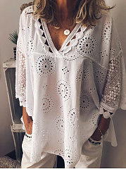 Spring Summer  Polyester  V-Neck  Brocade Blouse