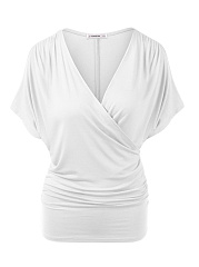Deep V-Neck  Plain  Short Sleeve Plus Size T-Shirts