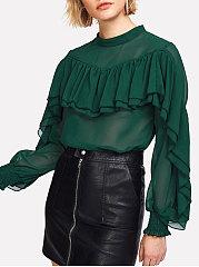 Autumn Spring Chiffon Women Round Neck Flounce Plain Long Sleeve Blouses