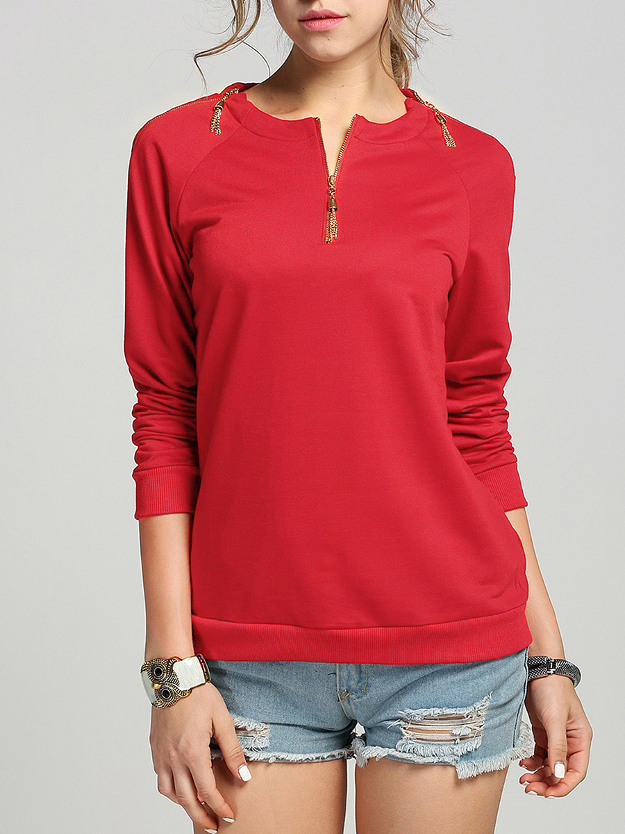 Round Neck Tassel Zips Plain Long Sleeve T-Shirt
