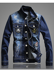 Denim-Distressed-Badge-Flap-Pocket-Men-Jacket