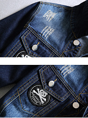 Denim Distressed Badge Flap Pocket Men Jacket