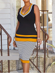 Scoop Neck  Striped Bodycon Dress
