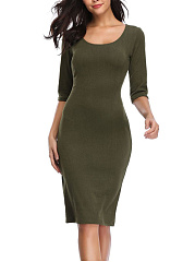 Round Neck  Cutout  Multi-Way  Plain Bodycon Dress