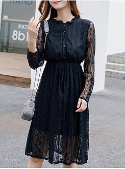 Lace See-Through Plain Band Collar Skater Dress