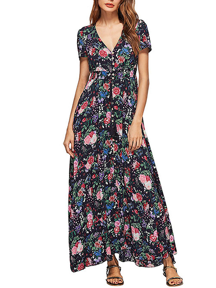 Empire Deep V-Neck  Floral Printed Swing Maxi Dress