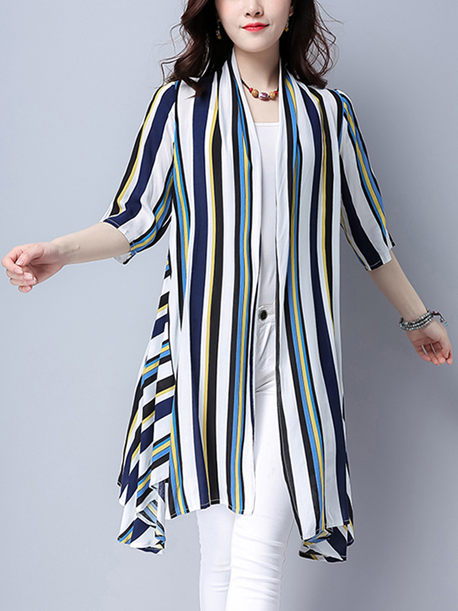 Colorful Lapel Striped Longline Kimono