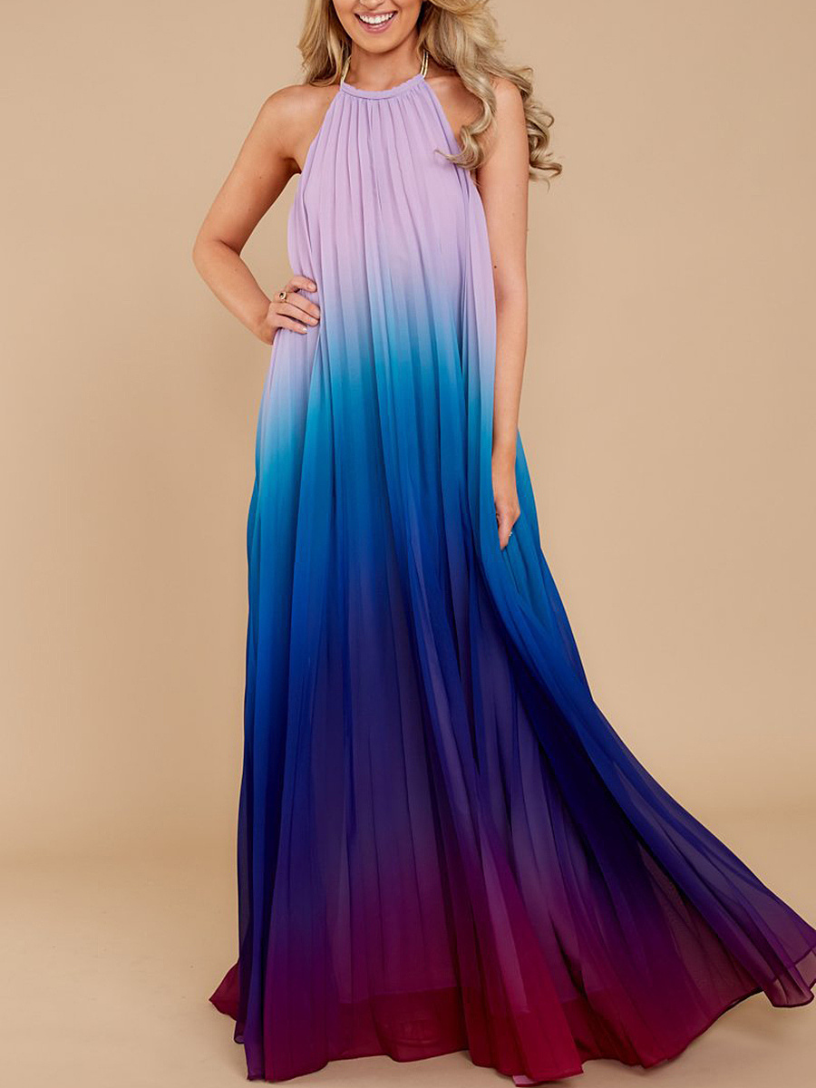 Crew Neck  Gradient Maxi Dress