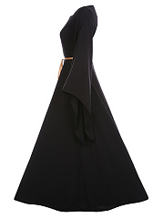 Square Neck Plain Belt Bell Sleeve Maxi Dress