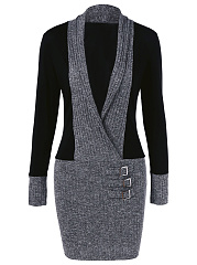 Shawl Collar Color Block Knitted Bodycon Dress