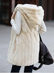 Hooded Drawstring Plain Striped Faux Fur Sleeveless Coat