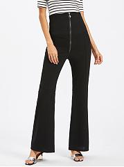 Zips-Plain-Flared-High-Rise-Casual-Pants