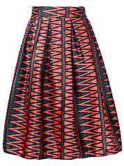 Inverted-Pleat-Elastic-Waist-Printed-Flared-Midi-Skirt