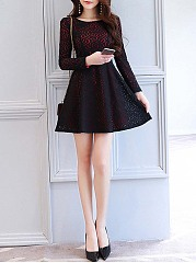 Round Neck Lace Long Sleeve Skater Dress