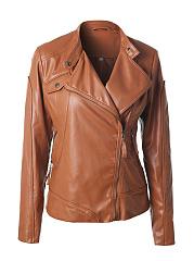 Lapel-Slit-Pocket-Zips-Plain-Biker-Jackets