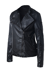 Lapel Slit Pocket Zips Plain Biker Jackets