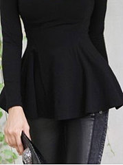 Autumn Spring  Polyester  Women  Round Neck  Hollow Out Plain Long Sleeve T-Shirts