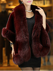 Faux Fur Collar Plain Cape Sleeve Coat