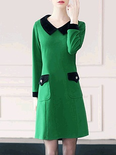 Doll Collar  Patch Pocket  Color Block Shift Dress