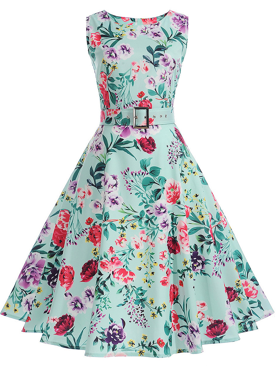 Delightful Floral Printed Round Neck Belt Skater Dress