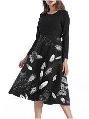 Round Neck  Feather Printed Skater Dress