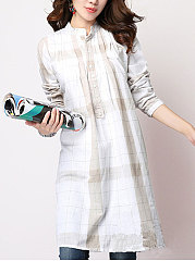 Autumn Spring  Cotton  Women  Round Neck  Asymmetric Hem  Decorative Button  Plaid  Long Sleeve Blouses