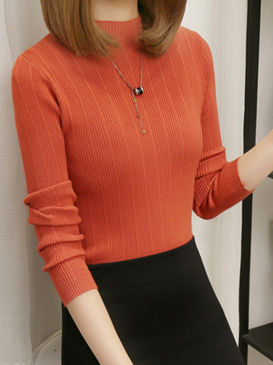 High Neck Plain Knitted Long Sleeve T-Shirt