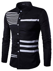 Special Striped Men Turn Down Collar Shirts