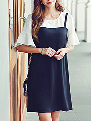 Round Neck  Fake Two-Piece  Color Block Shift Dress