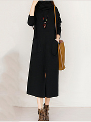 Plain Round Neck Scarf Patch Pocket Slit Maxi Dress