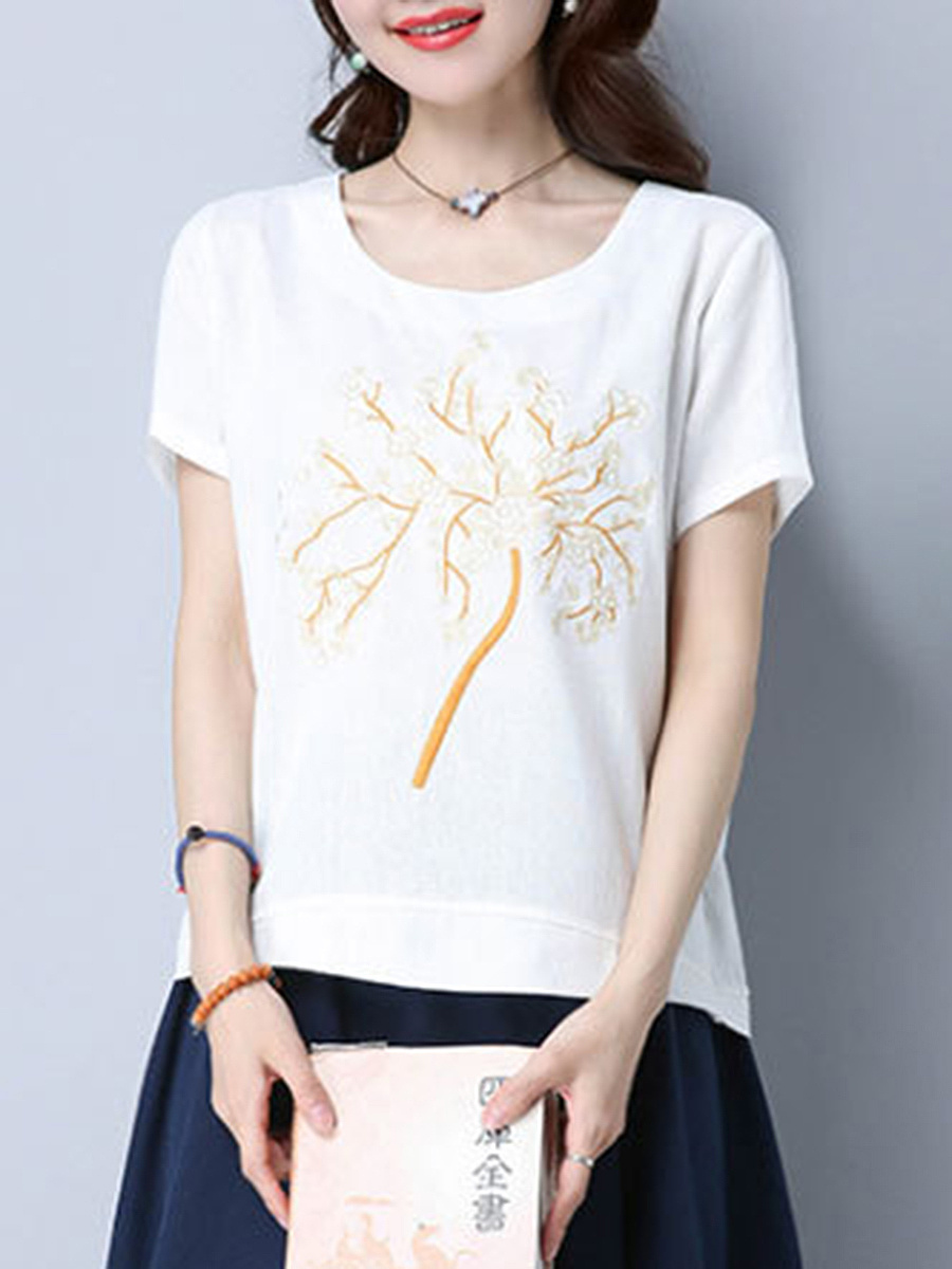 Round Neck Tree Embroidery Short Sleeve T-Shirt