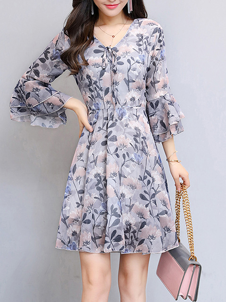 Bell Sleeve V-Neck Floral Chiffon Skater Dress