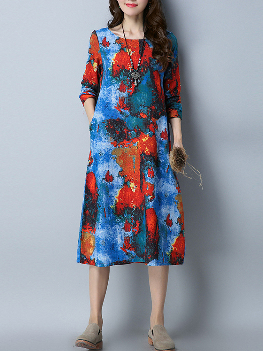 Round Neck  Slit Pocket  Printed  Cotton/Linen Maxi Dress