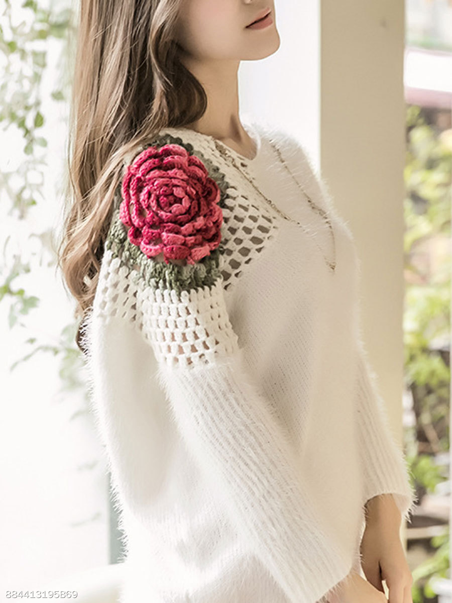 V-Neck  Crochet  Floral Hollow Out  Long Sleeve Pullover