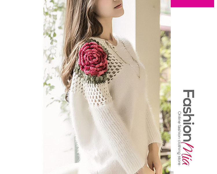 V-Neck  Crochet  Floral Hollow Out  Long Sleeve Pullover 884413195B69