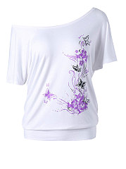 Summer  Polyester  Women  Floral Printed Short Sleeve T-Shirts