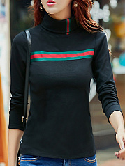 High Neck  Patchwork  Stripes Long Sleeve T-Shirts