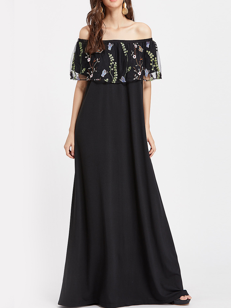 Off Shoulder Embroidery Flounce Maxi Dress