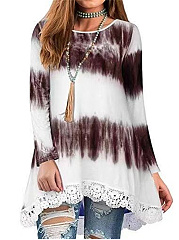 Round Neck  Decorative Lace  Ikat Shift Dress