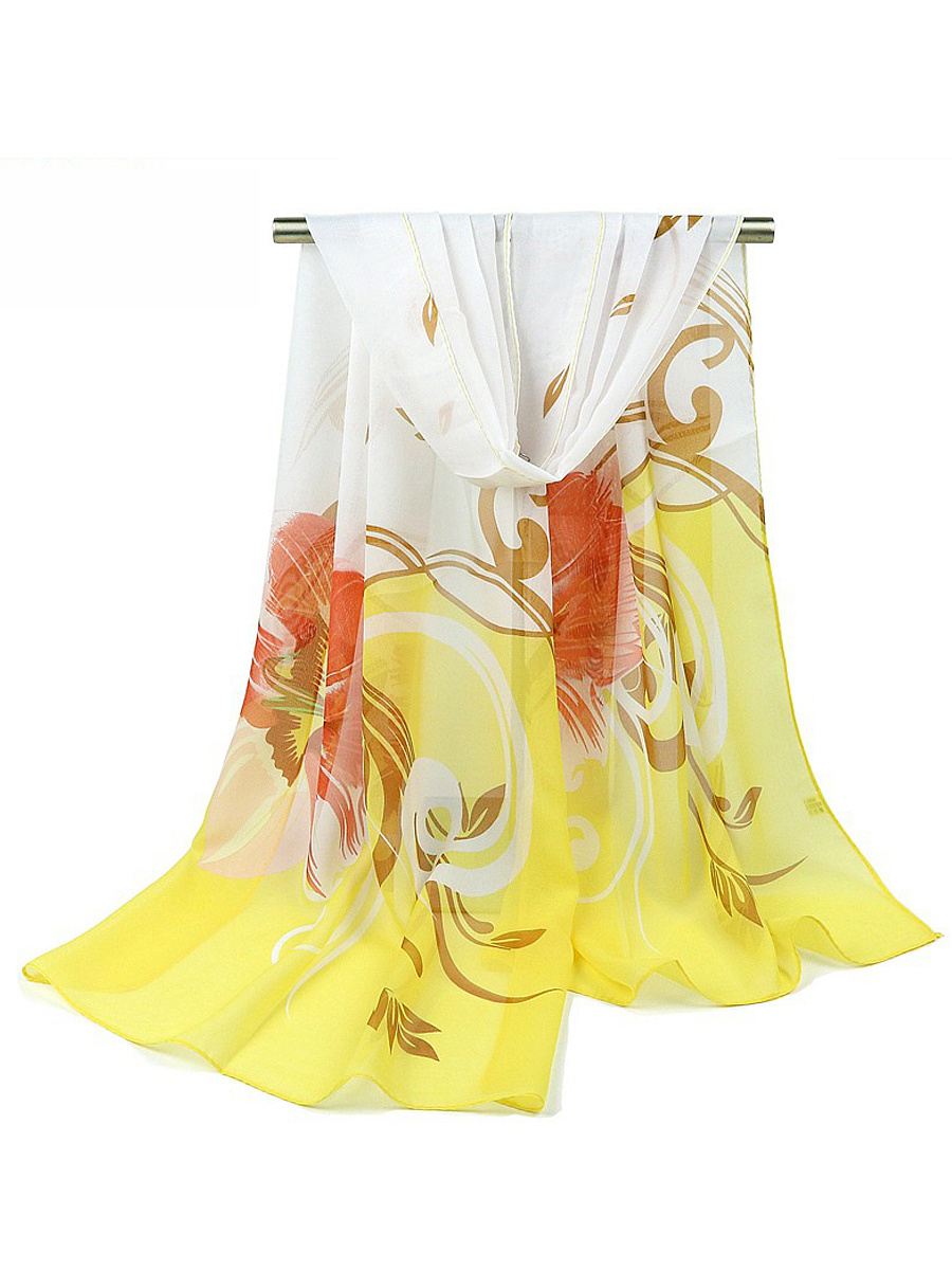 Abstract Floral Long Scarf