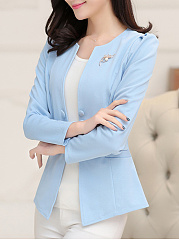 Collarless Decorative Button Plain Brooch Blazer