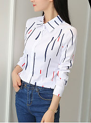 Autumn Spring  Cotton  Women  Turn Down Collar  Single Breasted  Striped  Long Sleeve Blouses