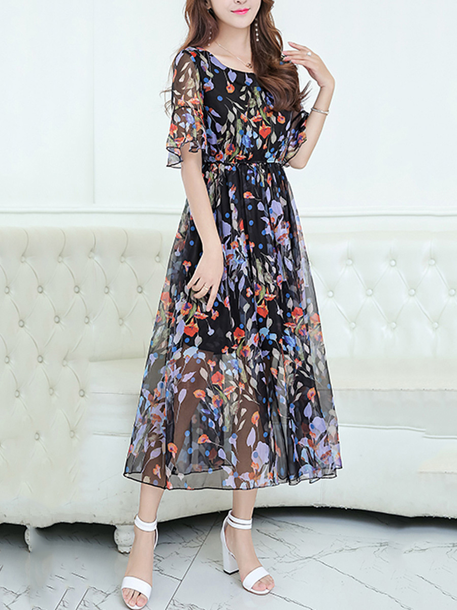 Round Neck Hollow Out Bell Sleeve Printed Chiffon Maxi Dress