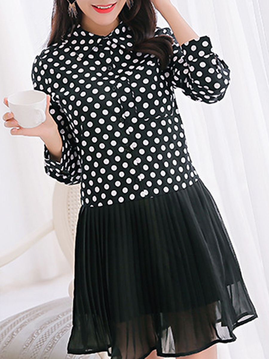 Turn Down Collar  Patch Pocket Patchwork Ruffled Hem  Polka Dot Skater Dress