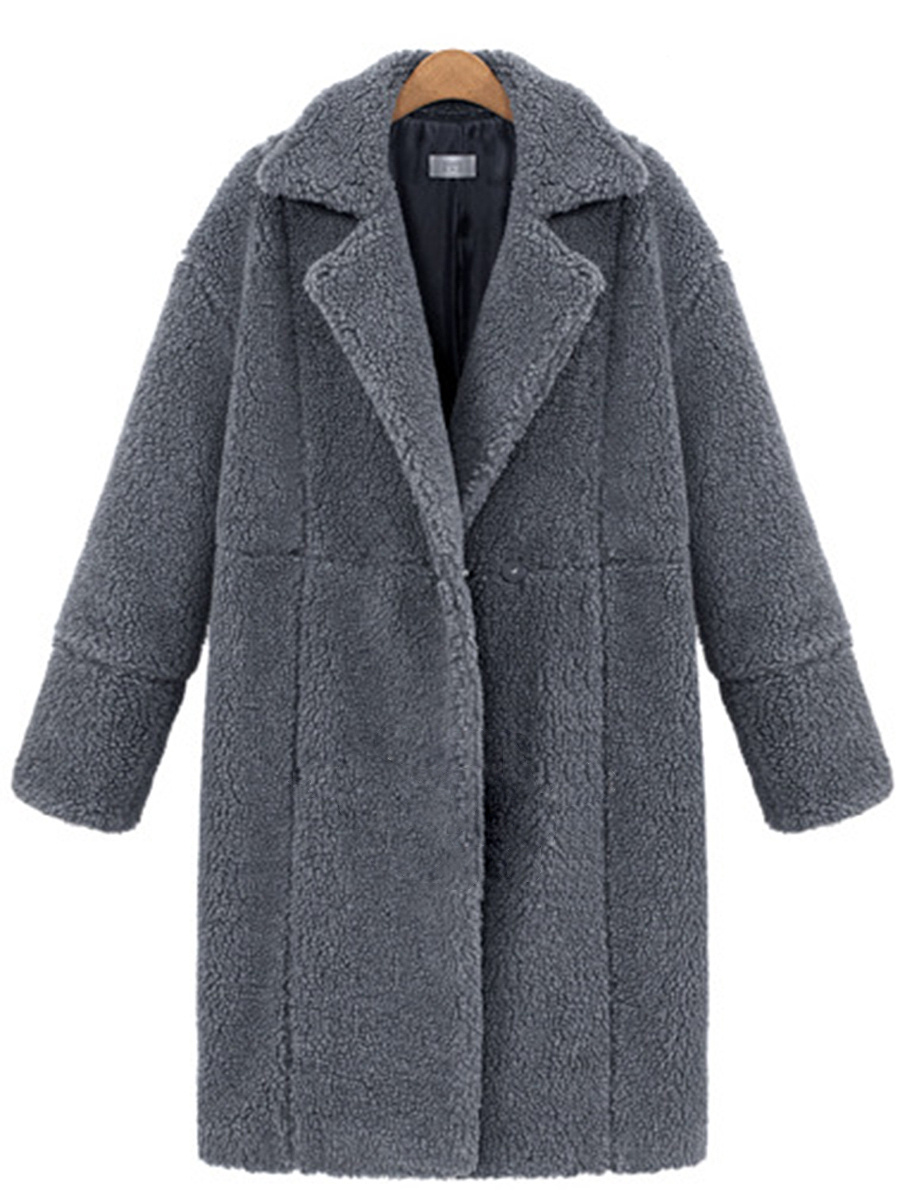 Lapel Plain Zips Single Button Longline Woolen Coat