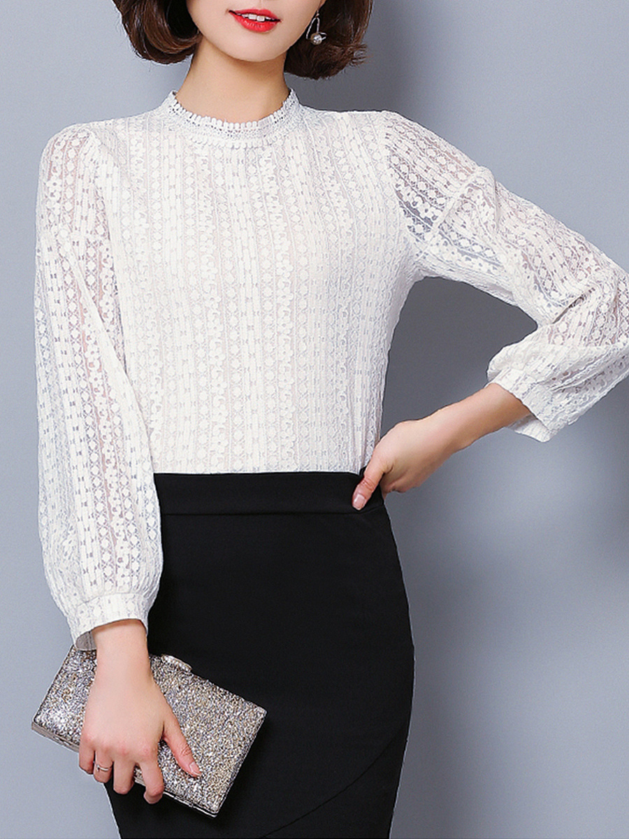 Band Collar Lace Hollow Out Plain Long Sleeve T-Shirt