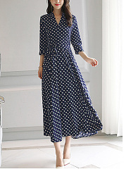 V-Neck  Polka Dot Maxi Dress