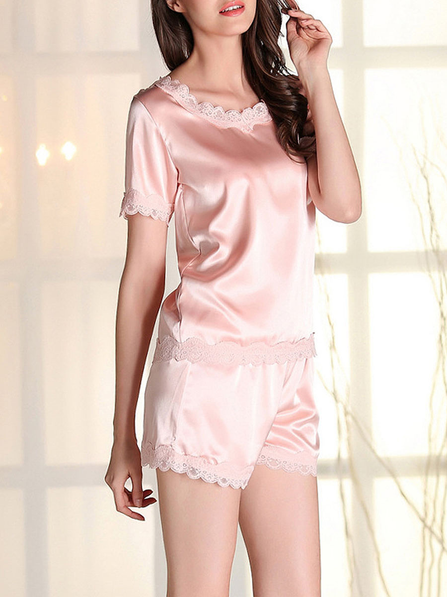 Decorative Lace Round Neck Short Sleeve Pajama Set
