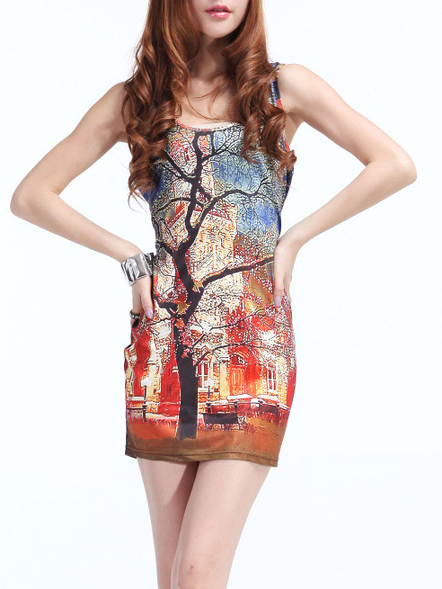 Colorful Scoop Neck Printed Bodycon Dress